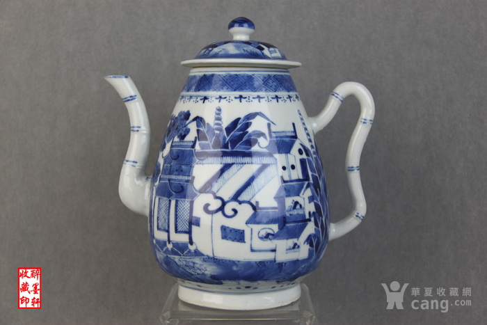 精品小康青花山水茶具40件套之二--茶壶【醉墨轩】-图1