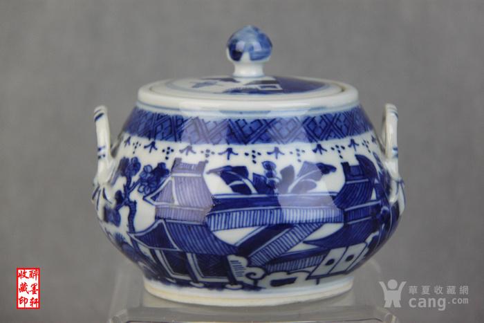 精品小康青花山水茶具40件套之三--糖缸【醉墨轩】-图3