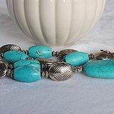 回流雅瓷蓝绿松石桶珠项链(123克)