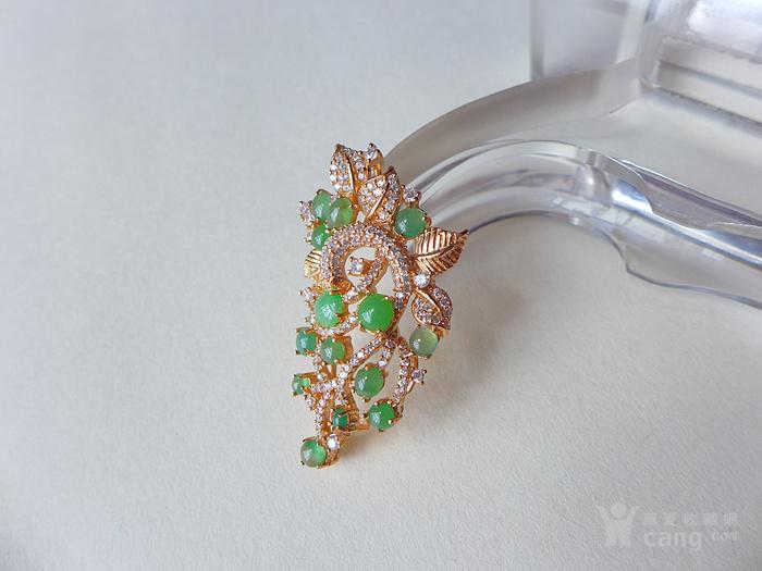925银镶钻天然a货翡翠~精美满绿圆珠镶嵌吊坠
