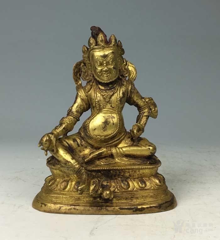 清代 铜鎏金黄财神像图1