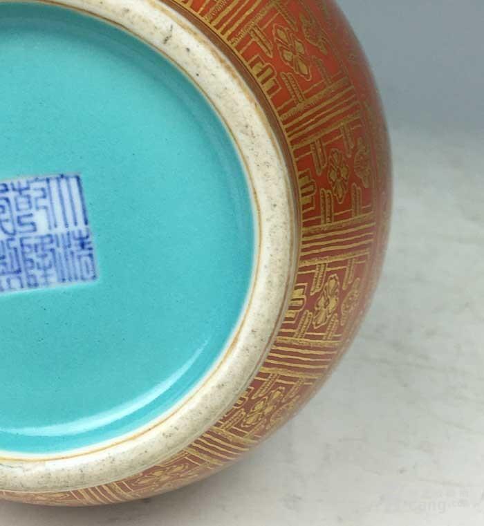 清乾隆 矾红描金花卉象耳瓶(海外回流)图11