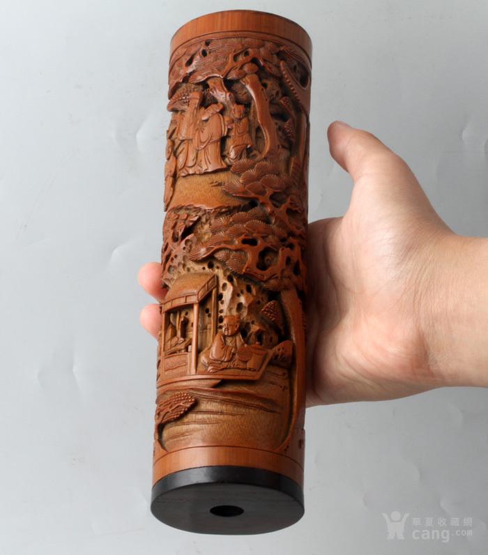 清代 竹雕 人物 精品 香筒。图1