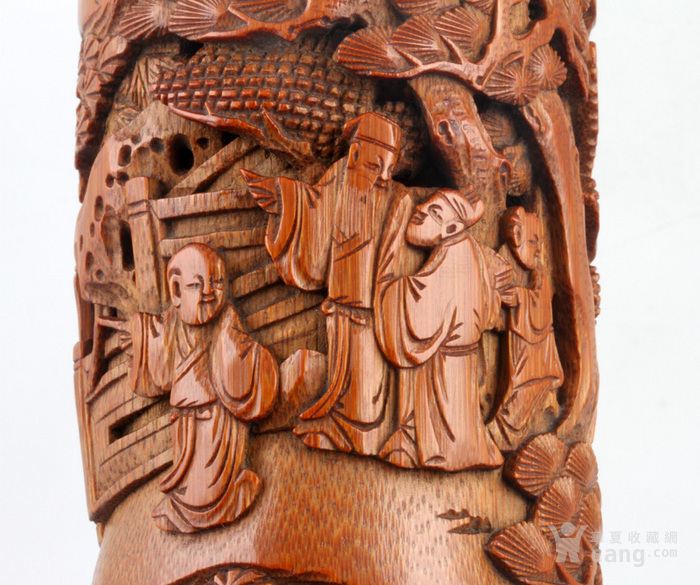 清代 竹雕 人物 精品 香筒。图9