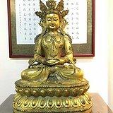明末清初 铜鎏金阿弥陀佛坐像