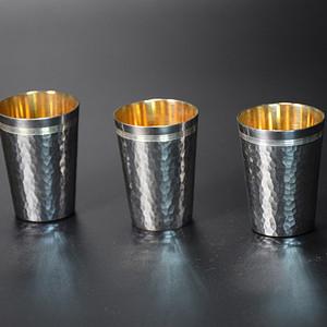 016日本银茶酒杯-中古造-纯手工纯银制内鎏金小杯子