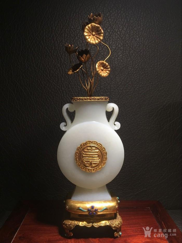 【宫廷御用】】清乾隆 造办处和田白玉镶金嵌宝瓶-图3