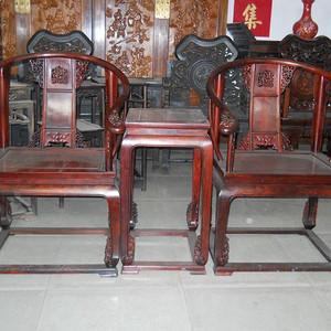 老挝大红酸枝皇宫椅一对