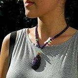 印第安河回流*近代紫晶项链带如意,瑞兽花坠