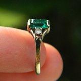 印第安河回流*大几十年的欧洲10k金祖母绿小戒指
