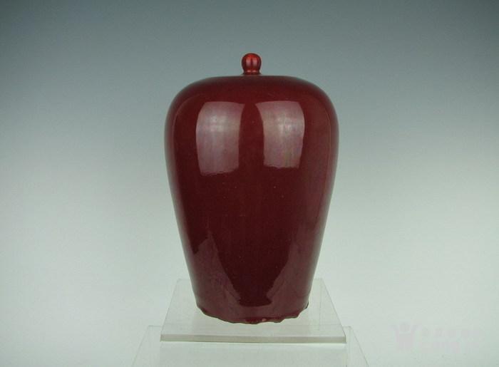 清代霁红带盖罐子图1