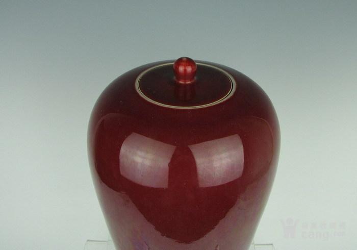 清代霁红带盖罐子图3