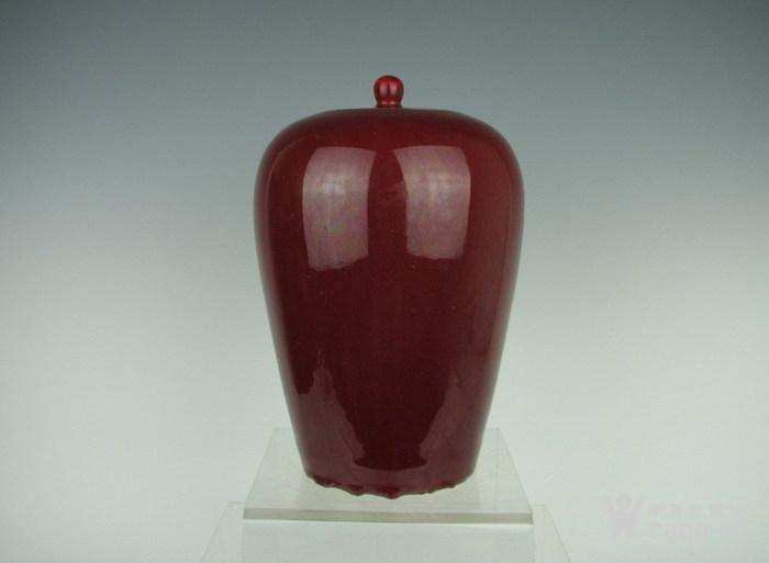 清代霁红带盖罐子图2
