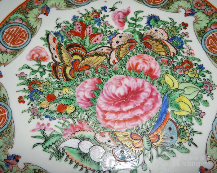 海外回流清末广彩植物花卉大盘直径40.5厘米图4