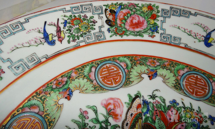 海外回流清末广彩植物花卉大盘直径40.5厘米图5