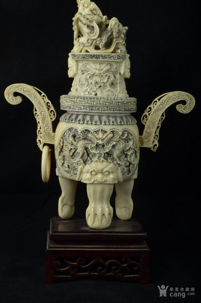 清 珍贵材质狮钮龙纹香炉图1