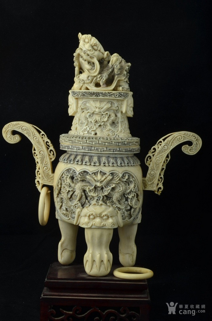 清 珍贵材质狮钮龙纹香炉图4