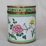 【铜胎画珐琅】花鸟卉纹茶叶盖罐