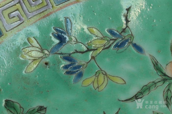 美国直邮 回流 晚清民初 折枝花卉 粉彩 高足大盘 30厘米图3