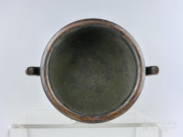 明代弦纹筒式鱼耳铜炉图4