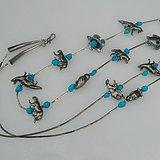 印第安河回流*几十年的印第安纯天然瓷松纯银项链