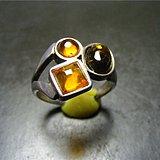 欧洲回流 至少几十年的K925银镶天然琥珀大戒指