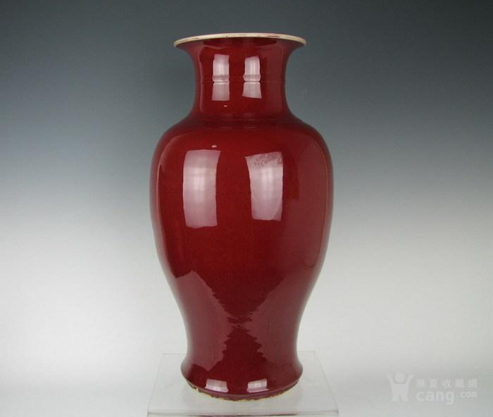 清晚期仿雍正郎窑红灯笼瓶图2