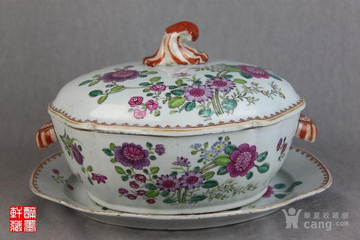 欧洲贵族用乾隆花卉汤盖盆三件套【醉墨轩】-图1