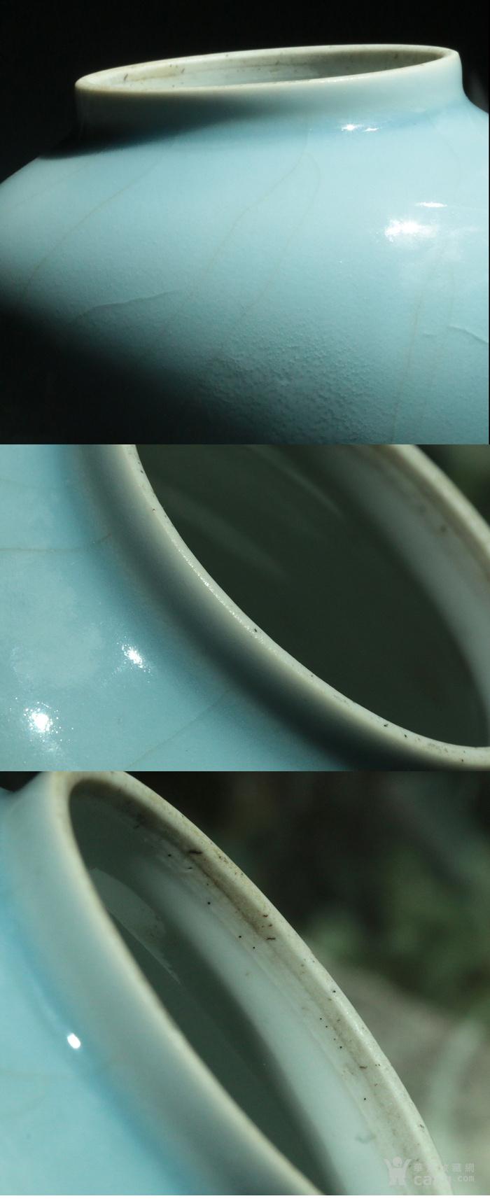 美国直邮 回流 少见大明成化年制款 清代 天蓝釉  将军罐图5