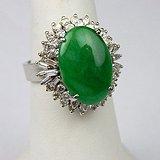 收藏级别 GIA 证书 冰种 满绿 精品 戒指。