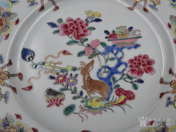 雍正粉彩福禄寿盘精品图2