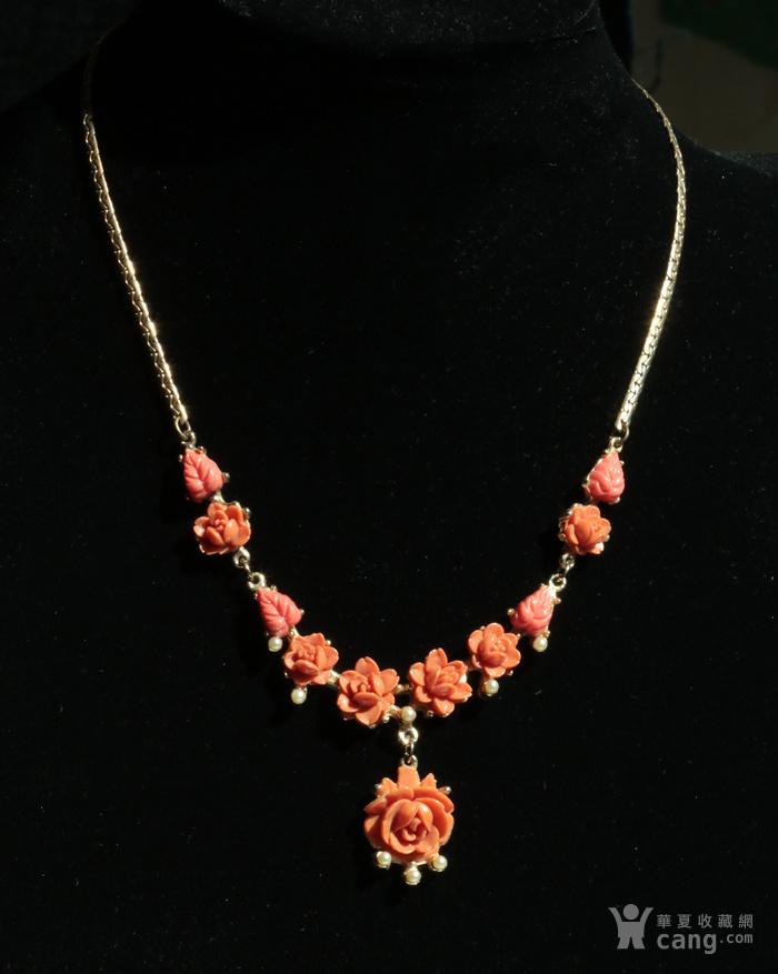 特价回流珠宝:西洋 赛璐璐仿珊瑚 玫瑰花 老项链图6