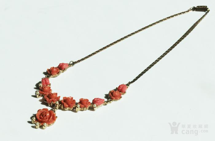 特价回流珠宝:西洋 赛璐璐仿珊瑚 玫瑰花 老项链图1