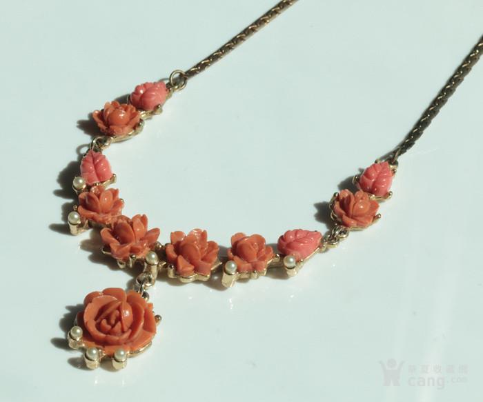 特价回流珠宝:西洋 赛璐璐仿珊瑚 玫瑰花 老项链图2