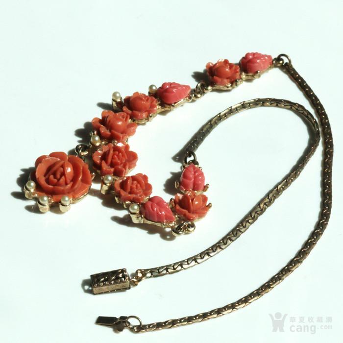 特价回流珠宝:西洋 赛璐璐仿珊瑚 玫瑰花 老项链图4