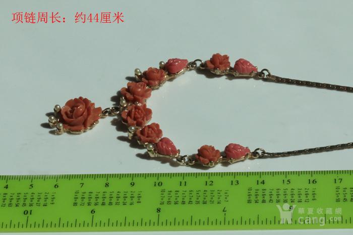 特价回流珠宝:西洋 赛璐璐仿珊瑚 玫瑰花 老项链图3