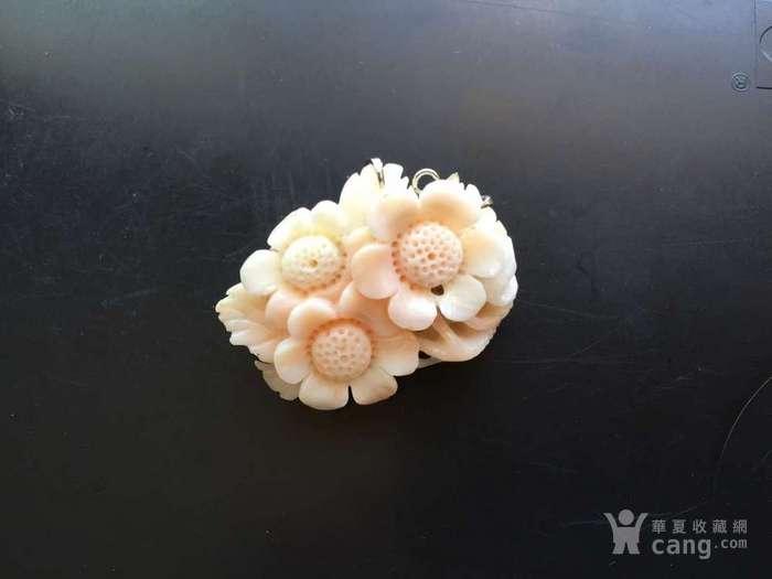 I0031 精美粉珊瑚雕花纯银吊坠胸针两用图6