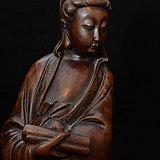 清代红木雕刻书卷观音造像