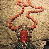 欧美回流 18k祖母绿珍珠钻石红珊瑚观音项链