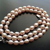 N8446 天然粉色蛋形珍珠珠链