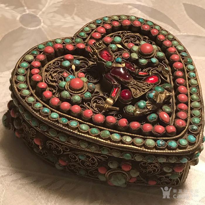 海外回流心形镶嵌宝石佛宝盒老银首饰盒图1