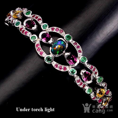 五合宝石银手链 五种不同天然宝石共镶925银镀14K金手链图1