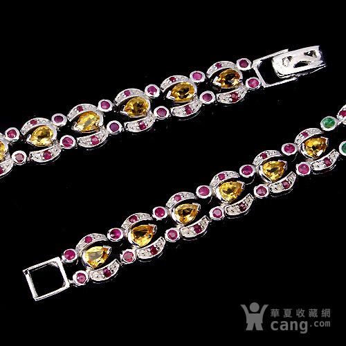 五合宝石银手链 五种不同天然宝石共镶925银镀14K金手链图2