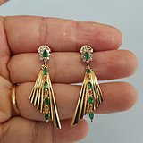 (回流)天然祖母绿绿宝石镶钻14K金耳环【直降1000元】