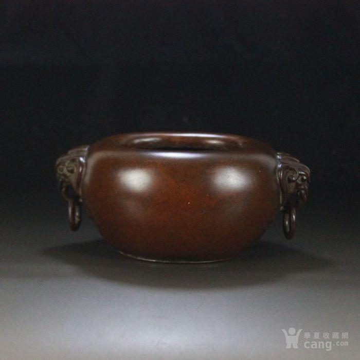 紫铜老香炉 兽耳炉 份量厚重 工艺精美 佛堂香道-图1
