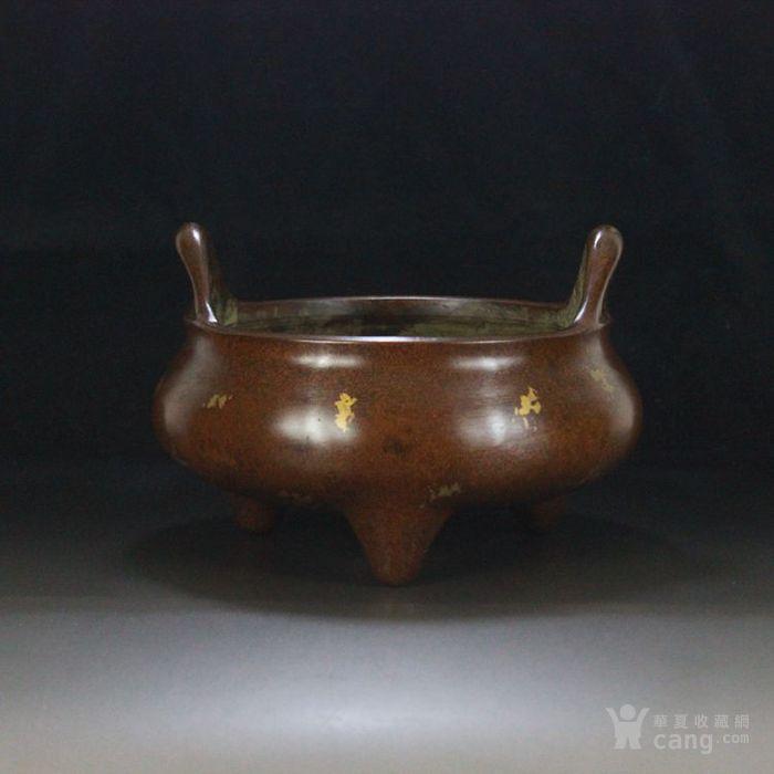 紫铜双耳老香炉 冲耳炉 洒金工艺 份量厚重 精铜打造-图1