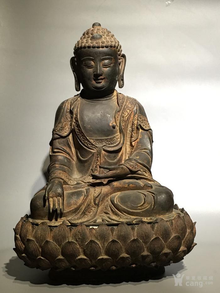 明代释迦摩尼铜佛像-图1
