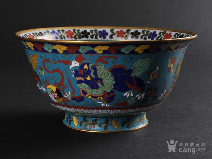 清代 铜胎掐丝珐琅狮子绣球纹大碗-图1
