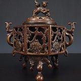 19世纪《大明宣德款》双耳兽钮三足―铜香熏炉