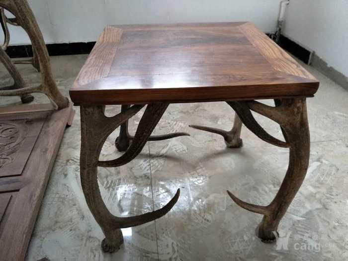 鹿角方桌一套(黄花梨面板)图2